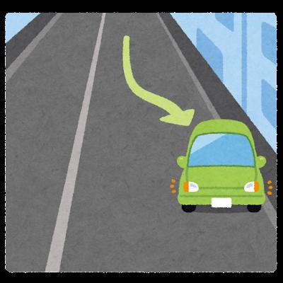 路肩に寄せる車のイラスト