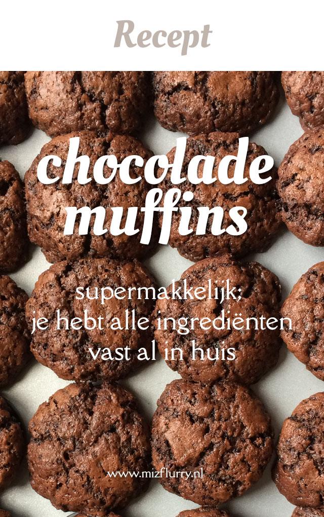 Chocolade muffins recept. Supermakkelijk; je hebt alle ingrediënten vast al in huis.