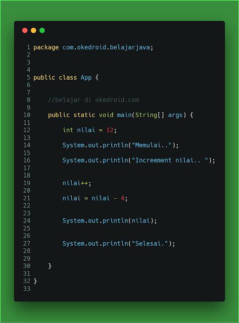contoh code memeriksa atau memantau nilai variabel dengan debugging di program java