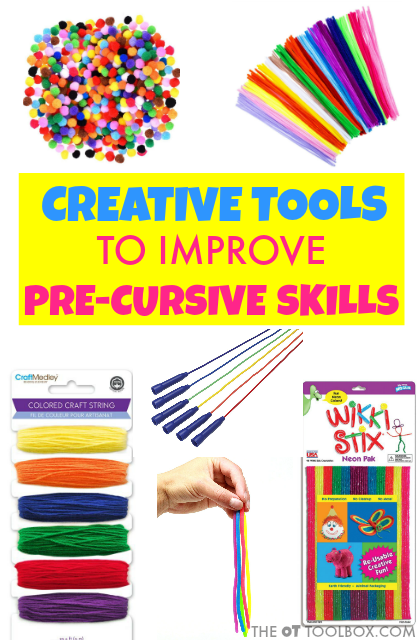 These therapy tools can help kids learn to develop and strengthen the skills needed for learning to write in cursive by strengthening visual motor skills, motor planning, and dexterity.