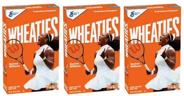 Serena Williams on Wheaties cereal box