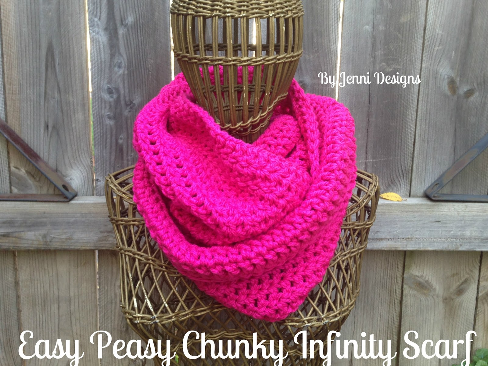 By Jenni Designs: Free Crochet Pattern: Easy Peasy Chunky Infinity Scarf