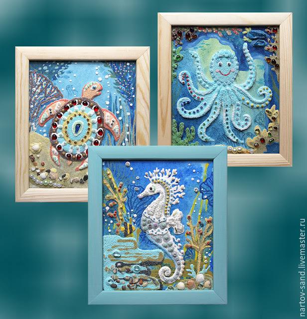 Морские мини-картины из песка