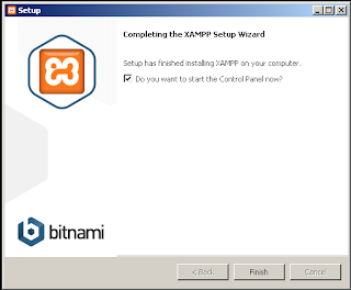 Setup has finished installing XAMPP on your computer