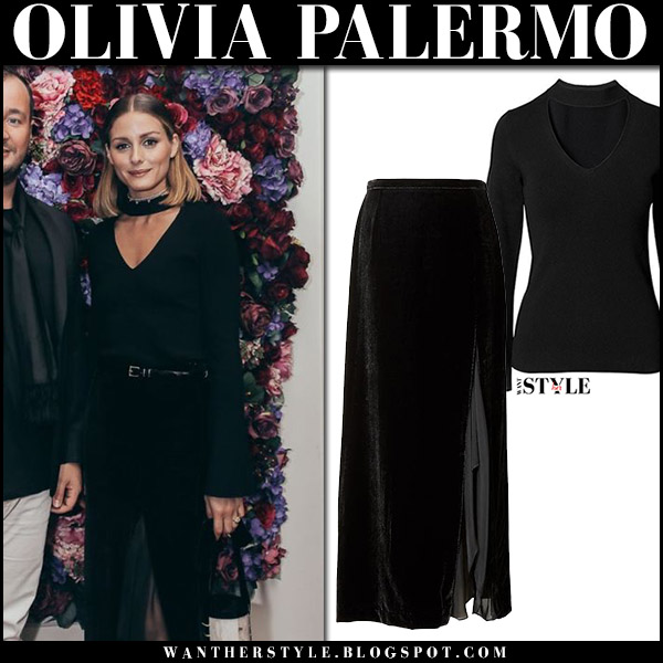 Olivia Palermo in black sweater and black velvet maxi skirt banana republic dubai september 13 2017 fashion