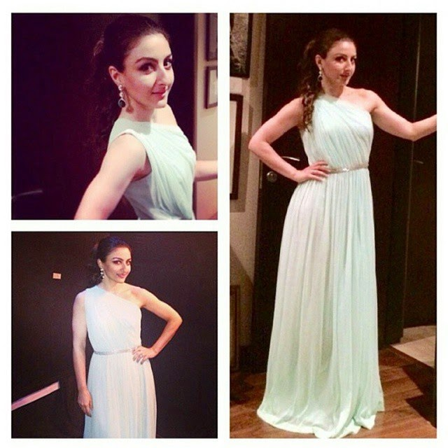 the ever charming soha ali khan , dressed in this mint green . , Soha Ali Khan Latest Hot Pics From Magnum Events