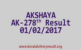 AKSHAYA AK 278 Lottery Results 01-02-2017
