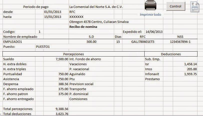 Nomina En Excel Formulas Excel