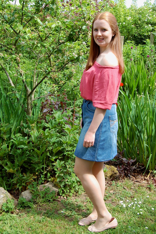 g is for gingers coral bardot top and denim button up