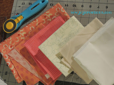 quiltville mystery coral and neutral fabrics