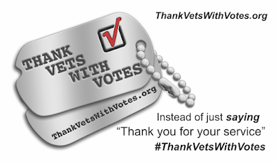 Thank Vets with Votes response card (front)