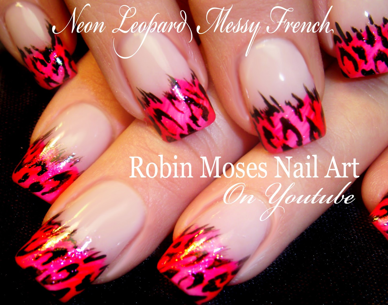 Nail Art By Robin Moses Neon Animal Print Messy French Mani Animal