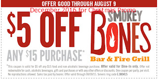 free Smokey Bones coupons december 2016