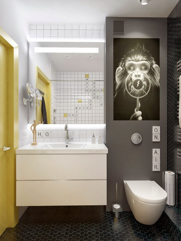 Grafiche e tinte avvolgenti in un appartamento di 45 metri quadri  ROOMS