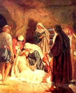 Dibujo de la Sepultura de Jesús acompañado de María