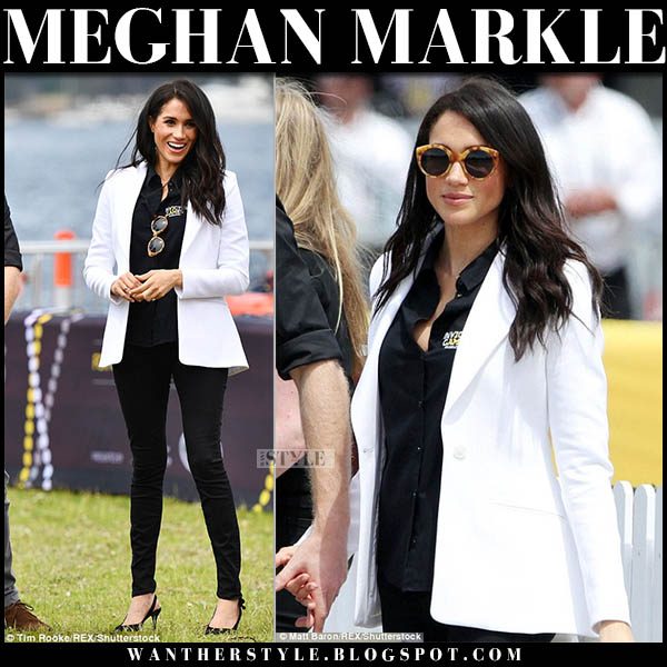Meghan Markle in white altuzarra acacia blazer and black skinny mother jeans invictus games australia october 20 outfit