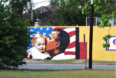 Obama Mural hugging baby - Houston Midtown at Breakfast Klub