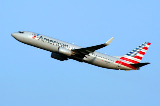 American Airlines jet departs SEA Seattle-Tacoma International Airport