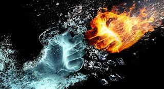 mão de gelo socando mão de fogo