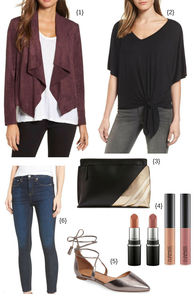 suede jacket and tie front tee - cute outfits for fall