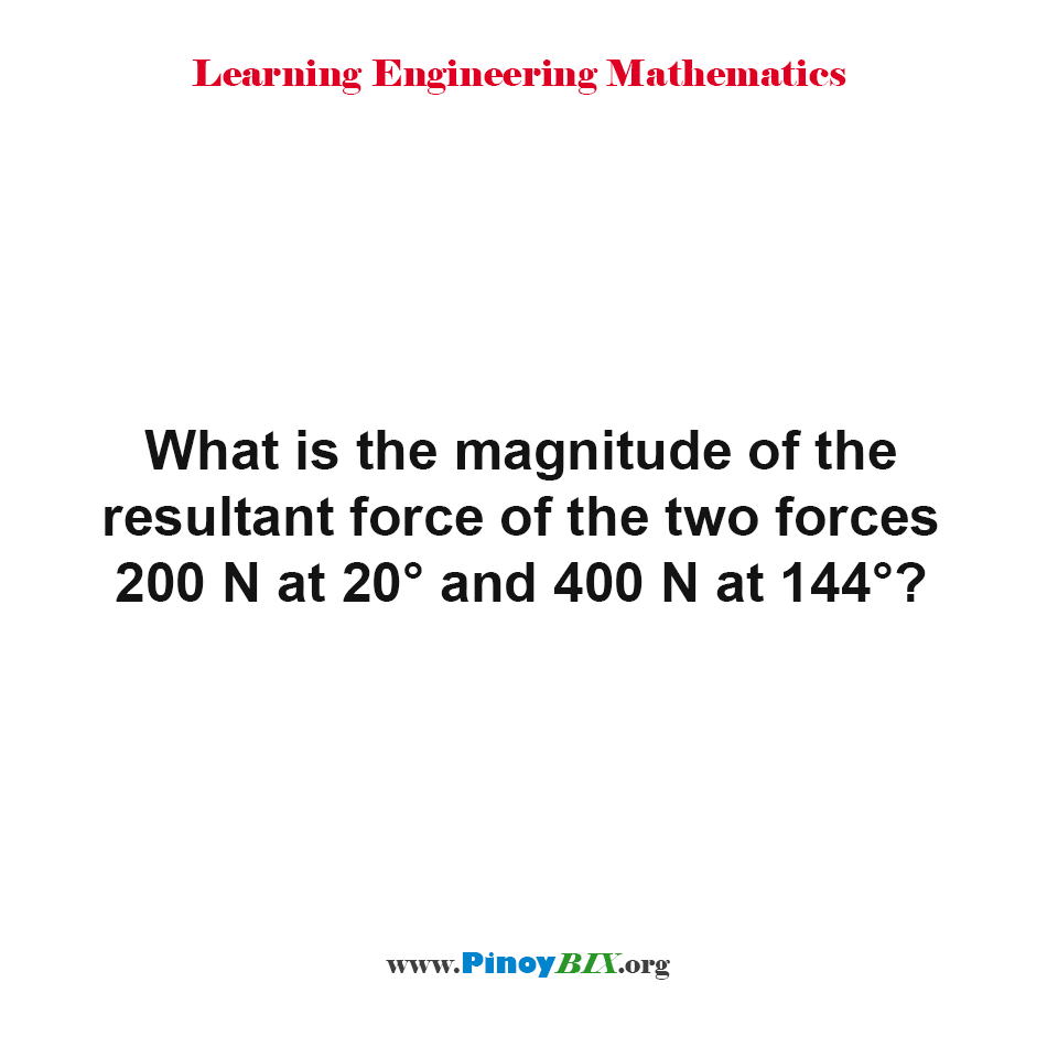 What is the magnitude of the resultant force of the two forces?