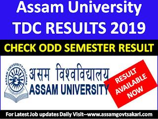 Assam University,Silchar Odd Semester Result 2019