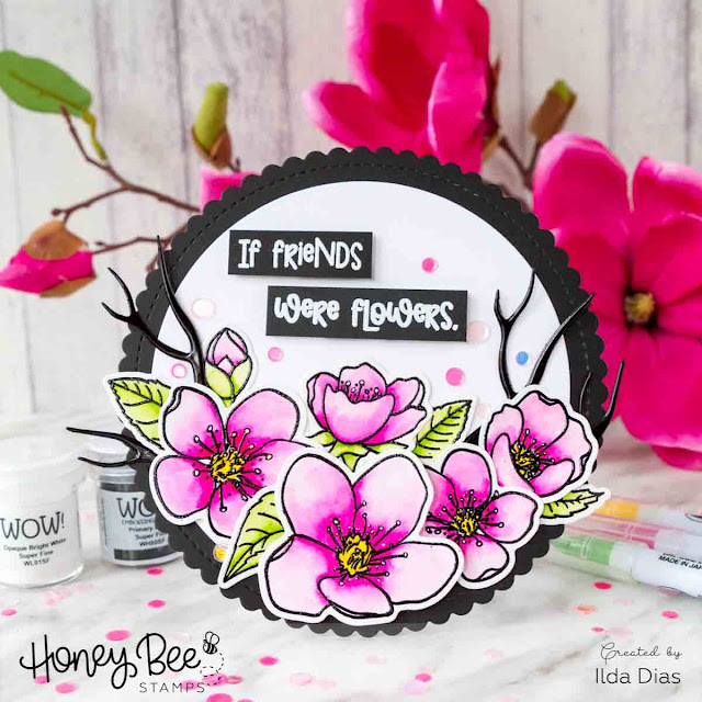 Circle Shaped Friendship Blossoms Card for Honey Bee Stamps - Wow Blog Hop by Ilovedoingallthingscrafty