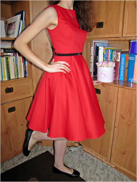 Sukienka w stylu vinatage Grace Karin, czarne baleriny, czarny pasek