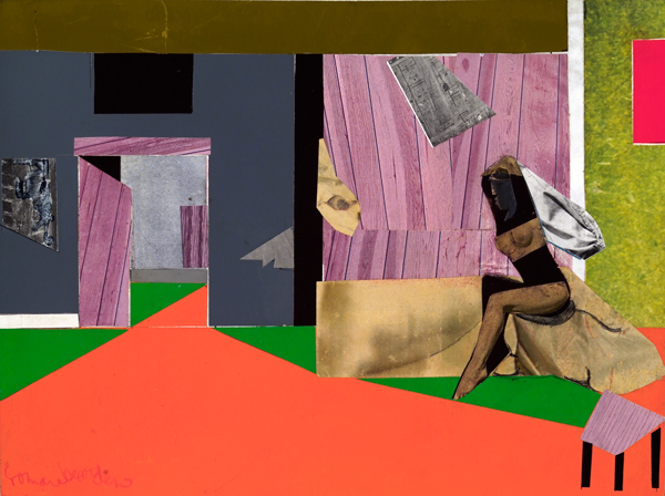 "Romare Bearden, Woman and Egret, 1975, collage and acrylic on board, 11 3/4"" x 16"""