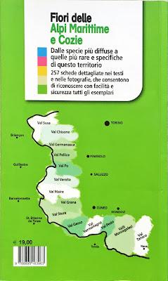 Fiori di montagna delle Alpi Sud Occidentali, front cover, back cover, and example page.