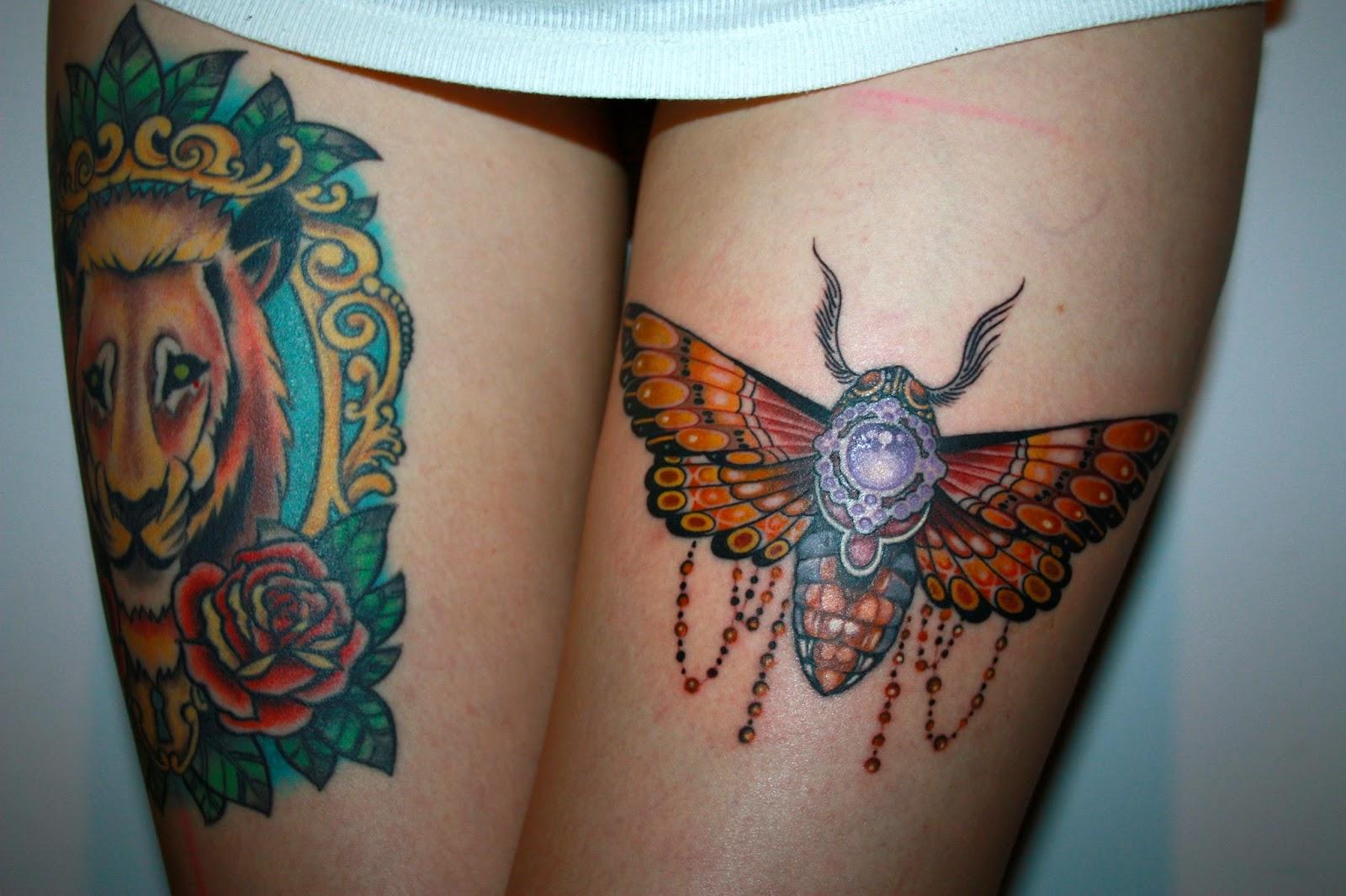 Berlin Allstyle Tattoo Moth Old School inked girls Luis Orellana