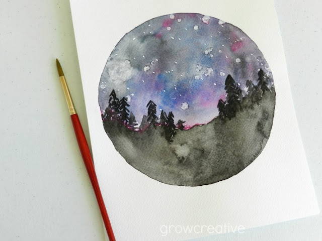 Watercolor Night Sky Landscape: Grow Creative Blog