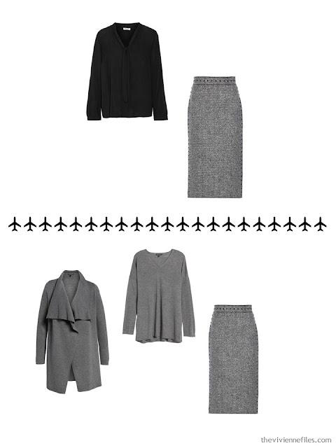 2 ways to wear a grey tweed skirt