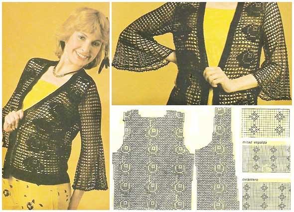 chaqueta señora tejida a ganchillo y tricot en filet