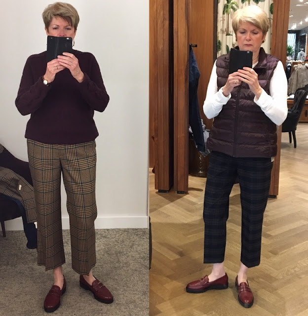 two shots of a woman in plaid pants