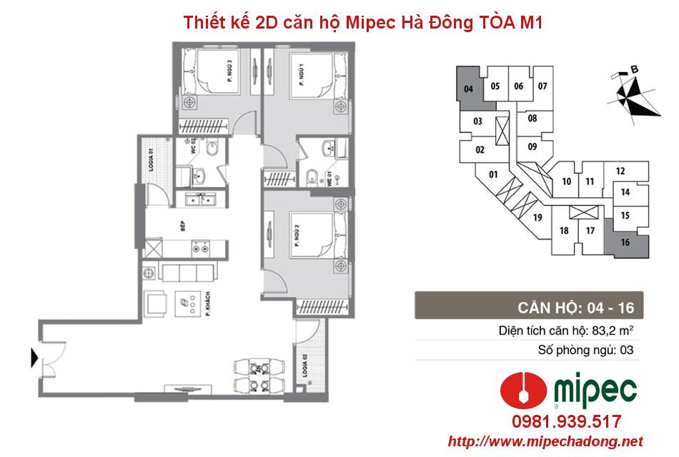 Hình ảnh Thiết kế căn hộ Mipec Hà Đông tòa M1 Căn 04 và 16