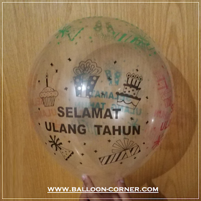 Balon Latex Transparan Print SELAMAT ULANG TAHUN
