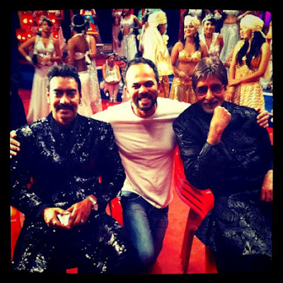 Ajay Devgn, Abhishek Bachchan and Rohit Shetty on the set of Bol Bachchan