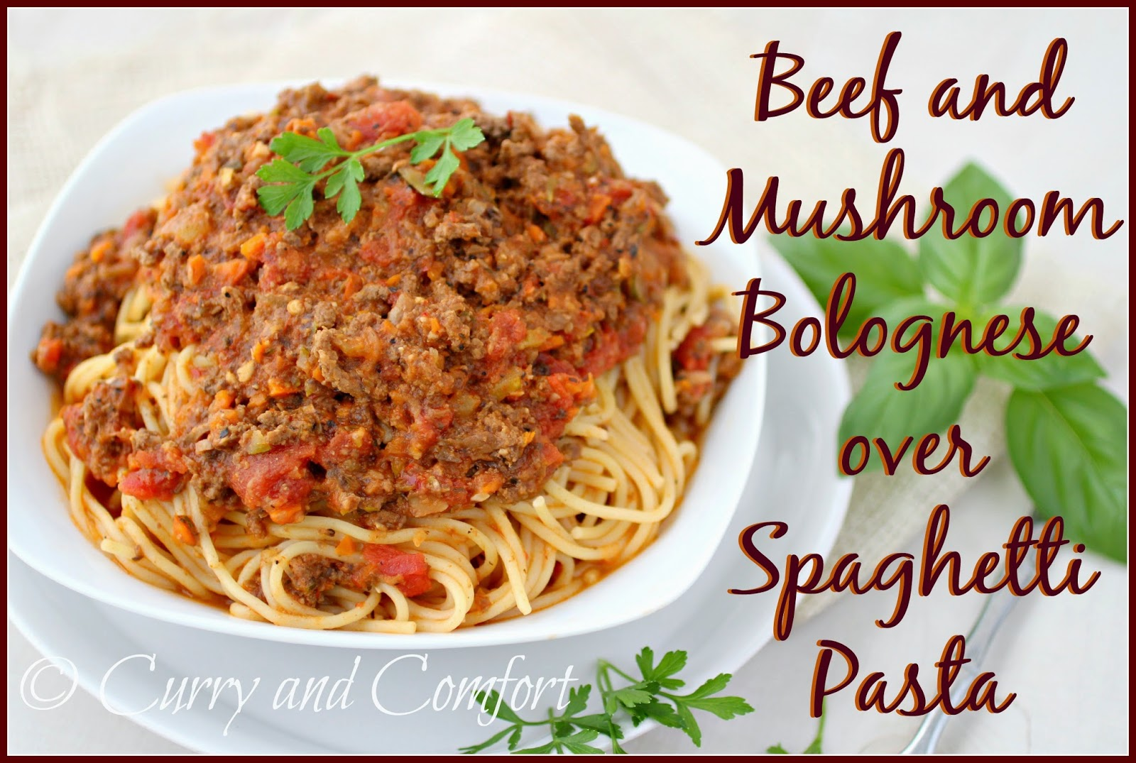 Kitchen Simmer Beef And Mushroom Bolognese Over Spaghetti Pasta