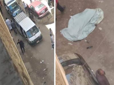 . الصور الأولى لمقتل سيدة على يد ابنها بالهرم