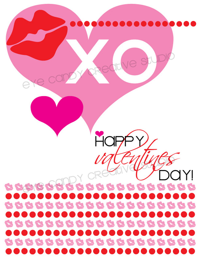 XO, happy valentines day, heart, lip print, free valentines art, pink & red