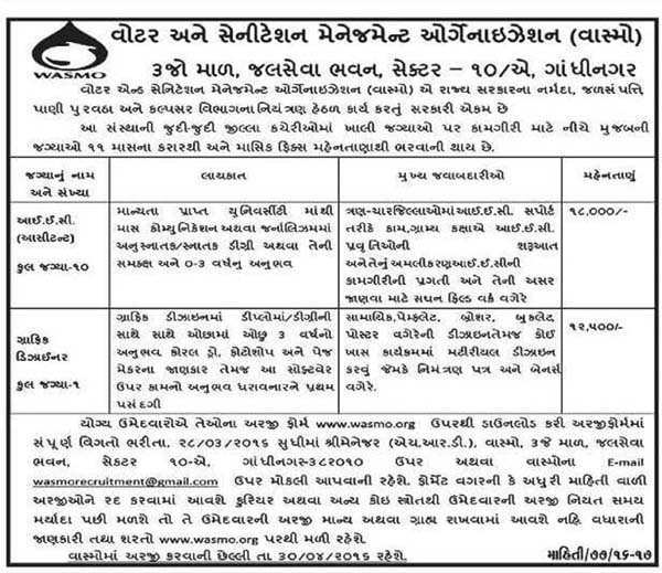 WASMO, Gandhinagar I.E.C. (Assistant) and Graphic Designer Recruitment 2016