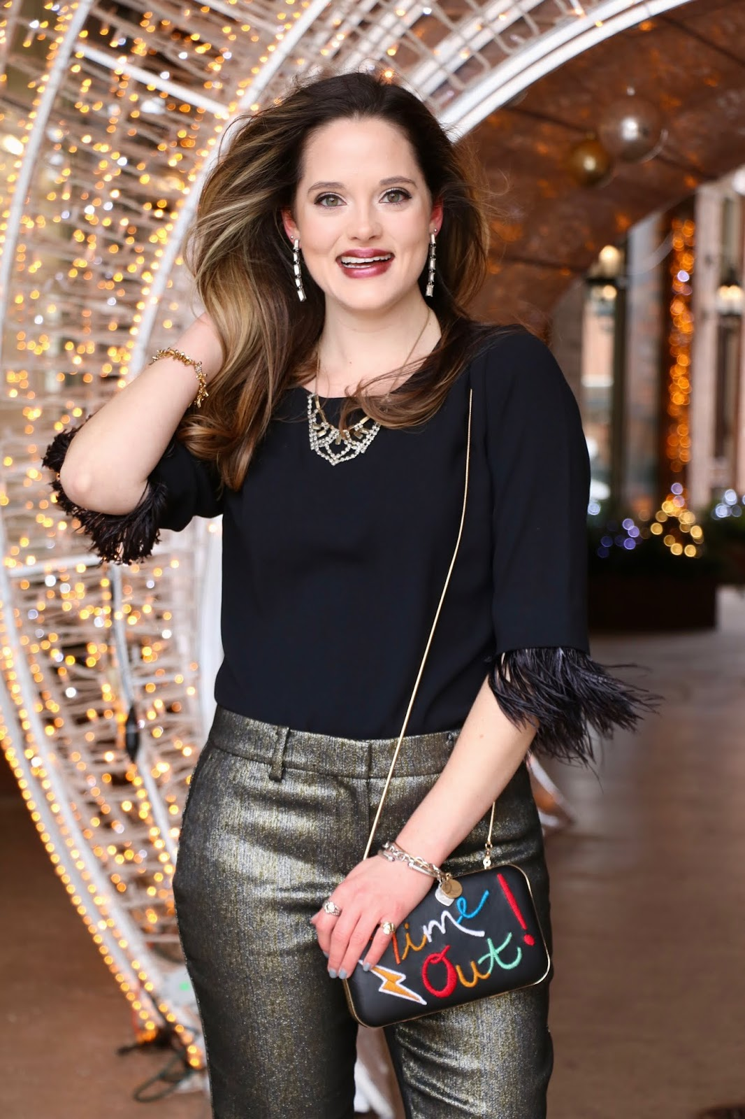 Nyc fashion blogger Kathleen Harper showing how to wear pants to a party