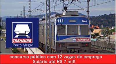 concurso público TRENSURB Trens Urbanos de Porto Alegre S/A - edital 2017.