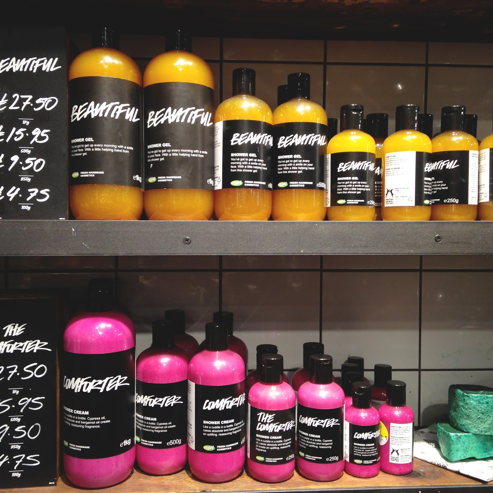 shower gels at lush