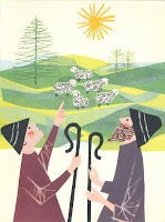 A colorful illustration of two shepherds pointing to a flock.
