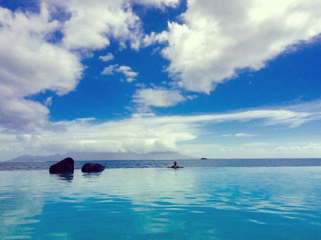 Infinity pool from our Tahiti hotel facing Moorea.