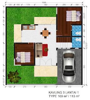 Gambar denah Rumah Griya Permai Sidoarum Kavling 3 Lantai 1
