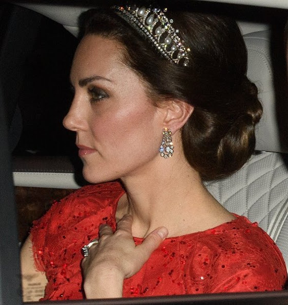 Duchess Catherine Kate Middleton wore Jenny Packham sparkling cap-sleeve for Diplomatic Corps dinner. Diamond Tiara, Diamond earrings