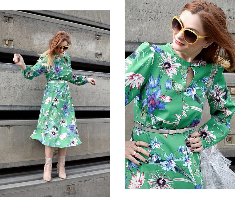 Wie style ich Grün, grünes Kleid von H&M, durchsichtige Plastik Handtasche, Nude